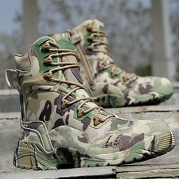 Wholesale Mens High Heel Motorcycle Boots - Men Tactical Amry Boots Outdoor Camouflage Military Mens Safety Shoes High Top Breathable Desert Footwear Men's Combat Boots
