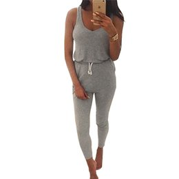 Wholesale Womens Overall Long Pants - Wholesale- 2016 Trend Summer Low Cut Rompers Womens Sleeveless Jumpsuit Grey Elastic Waist Long Pants Playsuit Belt Pockets Overalls