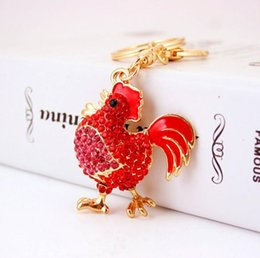 Wholesale Jewelry For Cock - Crystal Cock Rooster Chicken Key chain Rhinestone Keychain Animal Metal Keyring For Women Bag Pendant Jewelry