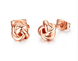 Wholesale Love Studs Earrings - Rose Gold Color Classic Design Love Knot Post Stud Earrings Boucle D'oreille JE0140A