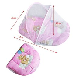 Wholesale Canopy Nets For Baby - Wholesale- Portable Baby Bed Crib Folding Mosquito Net Insect Cradle Bed Netting Canopy Cushion Mattress For Infant Mattress Pillow