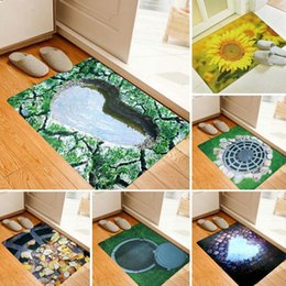 Wholesale 3d Floor Mats - Wholesale- Fashion 3D Trap Printed Carpet For Living Room Bedroom Floor Mats Kitchen Rugs Entrance Doormats Funny Rubber Door Mat Gift 3