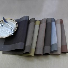 Wholesale Linen Placemats Wholesale - Wholesale- 4pcs set PVC Back type Placemat Plastic Placemats for Dining Table Runner Linens place mat in Kitchen Accessories Cup Wine mat