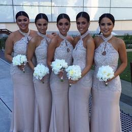 Wholesale Key Cap Light - Classic Lace Beads Halter Mermaid Bridesmaid Dress Custom Made Mermaid Dress Floor Length key hole fron Dress For Wedding Party