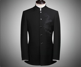 Wholesale Black Tunic Men - Wholesale- Men's Slim fit Stand Collar Chinese Tang Suits Black Quality Blazers for Men Chinese Tunic Suit Men FS-107