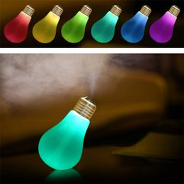 Wholesale Aroma Bulb - 6 Color change Lamp Bulb Humidifier Home Aroma LED Humidifier Air Diffuser Purifier Atomizer 110V-240V power with miniature tree