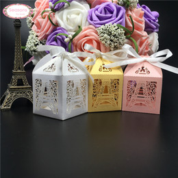 Wholesale Eiffel Tower Wedding Box - Wholesale- 10PCS Wedding Candy Box Chocolate Packaging Paris Eiffel Tower Personalized Weddign Box Mariage Favors And Gifts Baby Shower