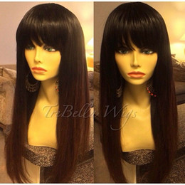 Wholesale Cheap Full Wig Bangs - full hair No lace wig with bangs cheap hair cap no lace 130%density silky straight jet black
