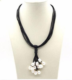 Wholesale Black Pearl Jewelry Leather - Free shipping Love Fashion jewelry Cluster Pearl Pendant W 10str Leather Necklace