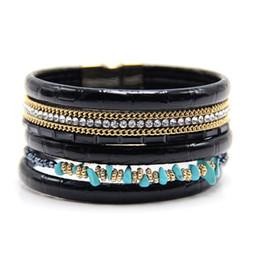 Wholesale Turquoise Gold Beads Leather - Wholesale- 2017 nature turquoise beads leather bracelet multilayer Bohemian boho bracelets bangle for women jewelry bracelet with tassel