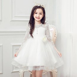 Wholesale Wholesale Evening Lace Gowns - New Girls Ball Gown Lace Ball Gown Children Wedding Dresses Net Yarn Gauze Girls wedding Guest Party Dress Kids evening Gowns White A7533