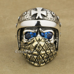 Wholesale Biker Motorcycle Helmets - LINSION 925 Sterling Silver Motorcycle Helmet Skull Ring Blue CZ Eyes Brass Mask Mens Biker Rock Punk TA24 US Size 7 to 15