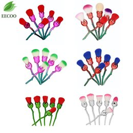 Wholesale Hair Made Plate - 6pcs lot set Rose Flower Makeup Brushes Set Foundation Contour Powder Highlighter Plating Make Up Cosmetic Multicolored Rose Brushes