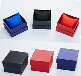 Wholesale Square Red Box Watch Papers - Fashion Watch boxes black red paper square watch case with pillow jewelry display box storage box