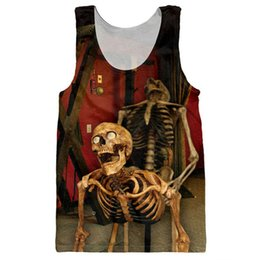 Wholesale Bone Print Tank - Wholesale- Funny Skulls Tank Tops 3D Print Bone Daddy Pattern Sleeveless Shirt Striped Vest Sexy Fashion Clothing Stringer Singlets Jersey