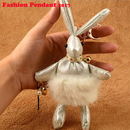 Wholesale Mink Balls - Loverly Mink Fur Rabbit Fur Keychain Pom Doll Ball Key Chain Ring Pendant For Bag Handbag gift artificial leather rabbit keyring