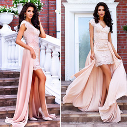 Wholesale Mini Skirt Sheer Lace - Newest Champagne Short Lace Evening Dresses V Neck Cap Sleeves Sheath Attachable Skirt Satin Nude Pink Prom Dresses Sexy Party Dresses