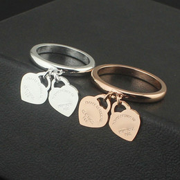 Wholesale Double Rose Rings - Foreign trade wholesale jewelry double heart ring double core 18K rose gold ring on the ring of male and female lovers