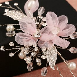Wholesale Lace Agates - New Handmade Pink Lace Flowers Hair pins Bridal Hair Accessories Pearl Jewelry Vintage Wedding Hair Stick Pageant Hairpin