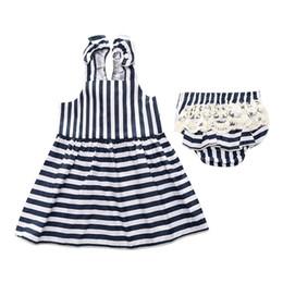 Wholesale Suspender Skirts Sets - Baby Girls Set 2017 Summer Girls Princess Dress Suspender Skirt Kids Dresses Lace Triangle PP Pants Shorts Two-piece Set Striped White 629