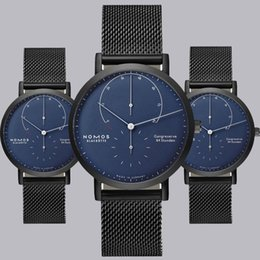Wholesale Arc Green - Hot Blues New NOMOS Luxury Brand Arcs Two Needles Half Netches Quartz Watch Simple Business Watch Men Military Sports Mesh Steel Watch