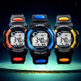 Wholesale Boys Red Waterproof Watches - Fashion New Children's Watches Boys and Girls Waterproof Luminous Kids Sports Electronics Wristwatches Digital Rubber Strap Watches