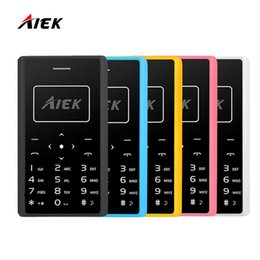 Wholesale Thin Bar Mobile - 2017 Original AIEK X7 Phone 4.8mm MP3 Bluetooth Led Light Low Radiation Mini pocket Children Phone Ultra Thin Card Mobile Phone