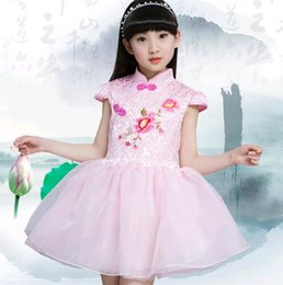 Wholesale Turtle Christmas Dress - 2017 New Summer Chinese Style Dresses Vintage Cap Sleeve Turtle neck Flower Design Yarn Dress for Girl Child Party Wear