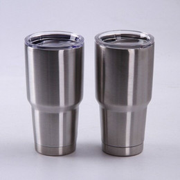 Wholesale Travel Mug Lids Wholesale - Ramblers Tumblers 20oz 30oz Stainless Steel For YETI RTIC Style Wine Glass Cup Travel Vehicle Beer Mugs Vacuum Insulated Double Wall Cup