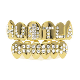 Wholesale Bio Plates - Trendy Party Props Hip Hop Bling Jewelry Bio Copper Gold Teeth Grillz Caps Top & Bottom With CZ HUSTLA Works Charm Grill Set Tooth Socke
