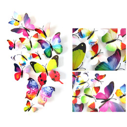 Wholesale Nature Fridge - Fashion 3D PVC Butterflies DIY Wall Sticker Art Decals Mural Wallpaper for Room Decoration For Home Fridge Wedding festival Decoration