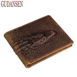 Wholesale Alligator Heads - Men Crocodile Wallet Genuine Leather 3D Designer Short Wallets Embossing Alligator Crocodile Head Fashion Money Clip
