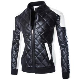 Hombre abrigo blanco online-Chaquetas de moto para hombre nuevas Chaqueta de cuero con costuras de cuello casual negro blanco Abrigo de abrigo acolchado Abrigo Parka Abrigos de invierno para hombre M-5XL