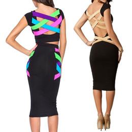 Al por mayor-2016 Nueva Moda Europea Mujeres Sexy Plus Size Hasta la rodilla Vestido ajustado negro Celebrity Casual Dress Backless Vendaje Vestido 453 desde fabricantes
