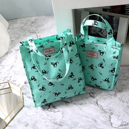 Wholesale CLASSIC SIZE Cath king Cartoon printing waterproof handbag Green shopping bags Student book bag Lunch bag