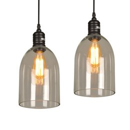 transparent shades Promo Codes - Pendant Light Fixture Vintage Pendant Lamp Glass Shade with Free E27 Edison Bulb Guaranteed 100% Retro Industrial DIY Ceiling Lamp