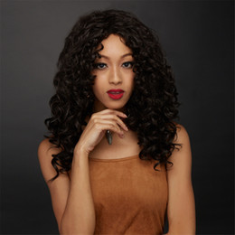 Wholesale Synthetic Wigs For Men - Riglamour Afro Wig for Women and Men Black Kinky Curly Lace Front Synthetic Hair Circus Wigs Heat Resistant Half Hand Tied #1b