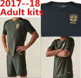 Wholesale Dark Green Jersey - 2017 Brazilian national team 3RD NEYMAR JR soccer jersey 17-18 Brazil 3RD dark green 5 star soccer shirt adult kits