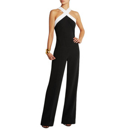 Wholesale Woman Romper Wholesale - Wholesale- 5 Colors New Women Sexy Sleeveless Playsuits Jumpsuit Bandage Bodycon Romper Trousers Pant Clubwear Overall Black Coveralls