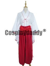 Wholesale Kimono Cosplay Female - Inuyasha Kikyo Miko Priestess White Red Kimono Cosplay Costume