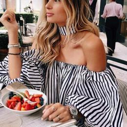 Wholesale Cheap Girls Fashion Clothing - New Fashion 2017 Summer Plus Size Elegant Women Clothes Off shoulder Lantern Sleeve Clothing Sexy Strapless Cheap Girls Blouse Free Shipping