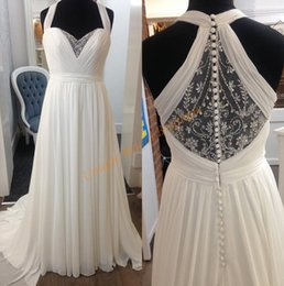 Wholesale Halter Court Train Wedding Dress - Wedding Dresses for Pregnant Women 2017 with Halter Neck and Empire Waist Real Images Chiffon Maternity Bridal Gowns with Beading Back