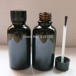 Wholesale Black Glass Paint - Wholesale- 20 lot 30ml Painted Black Empty Nail Polish Bottle, 30cc Black Glass Glass Bottle with Brush Cap