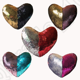 Wholesale Inner Cushions - Sequins Mermaid Pillow Case Heart-Shaped With Pillow Inner 35*40cm Bright Glitter Car Cushion Home Sofa Decoration 5 designs OOA1035