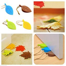 Wholesale Silicone Wedge - Leaf Door Stop wedges stopper block stops wedge Creative leaves silicone pinch-resistant door stop children hand exit card Three-dimensional