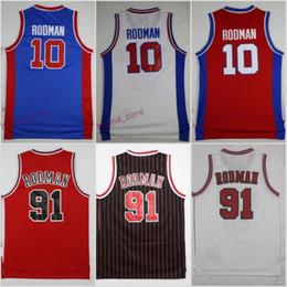 Wholesale Shirts Mens Stitching - Throwback #10 Dennis Rodman Blue Basketball Jerseys The Worm #91 Dennis Rodman Red Retro Stitched Shirts Basketball Jersey MENS S-XXL