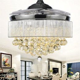 """Wholesale High Quality Crystal Chandeliers - High quality 52"""" LED Ceiling Fan Modern Crystal Ceiling Fans Chandelier Retractable Blades Chrome Finished pendant lamp with Remote"""