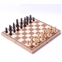 Wholesale International Chess - Travel Chess Game Set Pieces Wood with International Chess Board Chessman 34*34cm Checkerboard Toys Table Games
