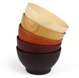 Wholesale Design Noodle - Natural Jujube Wooden soup rice Noodles bowls 10*5.5cm Kids Children's special bowl creative dinnerware nice design rice noodle