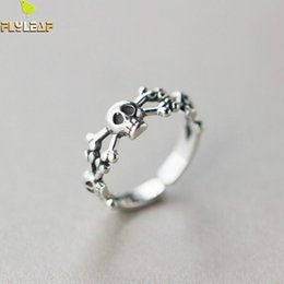 Wholesale Sterling Silver Skull Rings - Wholesale- Flyleaf Steampunk Skull 925 Sterling Silver Open Rings For Women Men Personality Prevent Allergy Sterling-silver-jewelry